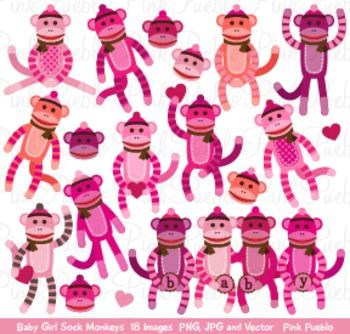 Girl Baby Shower Sock Monkeys Clipart Clip Art - Commercia