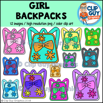 Girl Backpack Bookbag School Supplies Clip Art {Clip Guy Graphics Clipart}