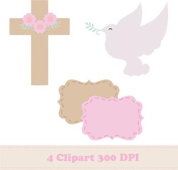 Girl Baptism Digital Paper + Clipart