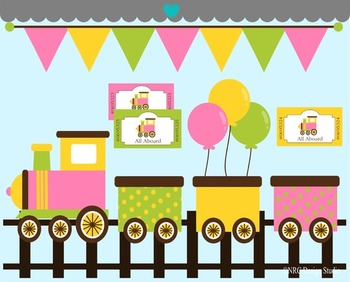 Girl birthday train clipart commercial use