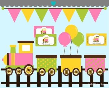 Girl Birthday Train Clip Art