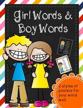 Girl & Boy Words for Word Wall