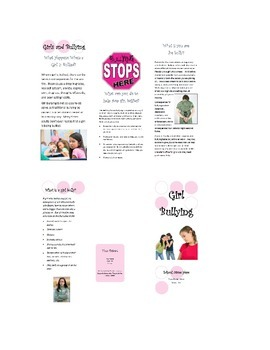 Girl Bullying Brochure--Able to be personalized to your school