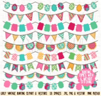 Girl Bunting Clipart Clip Art, Vintage Bunting - Commercial and Personal Use