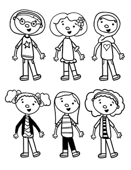 Girl Clip Art, Multicultural with Face Masks by Draw and ...