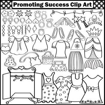 Girl Clipart, Dress Up Clothes Clip Art, Dresses, Shoes, Purses, Earrings SPS