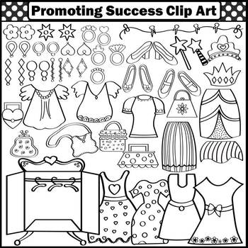 Girl Clipart Commercial Use Dress Up Clothes resses, Shoes, Purses, Earrings SPS