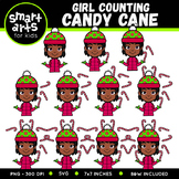 Girl Counting Candy Cane Clip Art