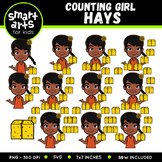 Girl Counting Hays Clip Art