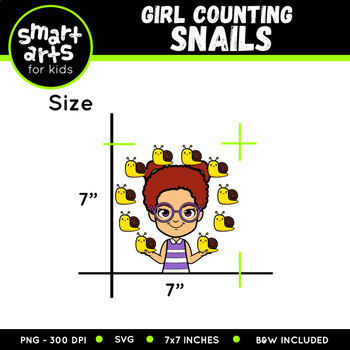 Girl Counting Snails Clip Art
