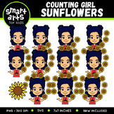 Girl Counting Sunflowers Clip Art