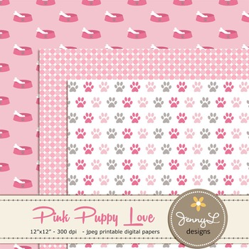 SET: Girl Dog Digital Papers and Clipart, Puppy, Bones