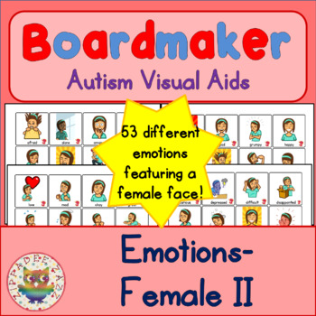 Girl Emotion Feelings Cards - Boardmaker Teen Visual Aids for Autism