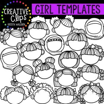 Girl Face Templates {Creative Clips Clipart}