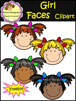 FREE Girl Faces  Clip Art    FREEBIE !!!!  ( School Design)