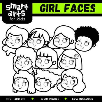 Girl Faces Clip Art