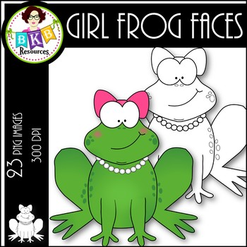 Girl Frog Faces ● Clip Art ● Products for TpT Sellers