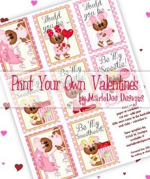 Girl Gingerbread Printable Childrens Valentine Cards d1