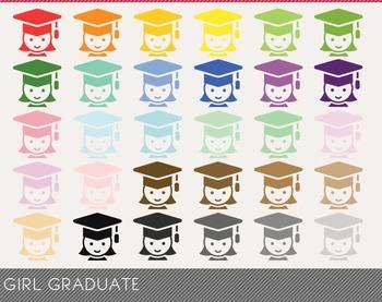 Girl Graduate Digital Clipart, Girl Graduate Graphics, Girl Graduate PNG