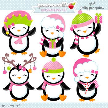 Girl Jolly Penguins - Cute Digital Clipart, Christmas Graphics