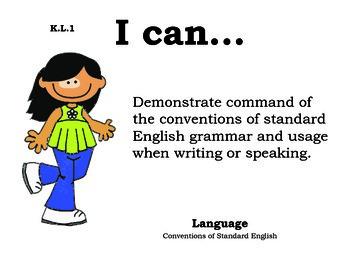 Girl Kindergarten English Common core standards posters
