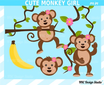 Monkey girl clipart commercial use