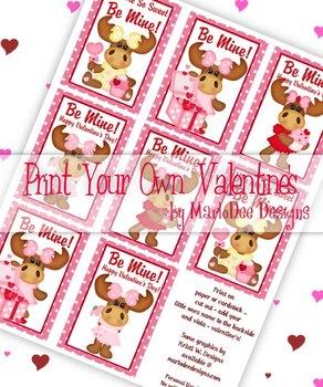 Girl Moose Printable Childrens Valentine Cards d1