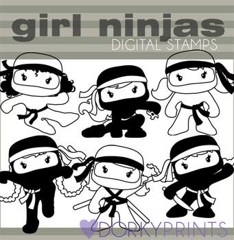Girl Ninja Black Line Clip Art
