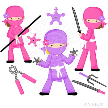 Girl Ninja Cute Digital Clipart, Martial Arts Clip Art, Pink Ninja
