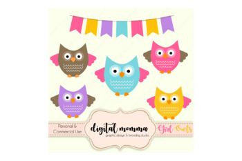 Girl Owls & Bunting Clipart