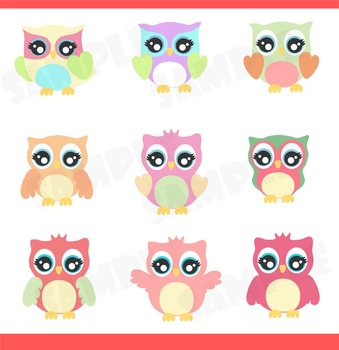Girl Owls for Girls Clipart Set