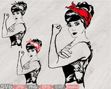 Girl Power Bandana Silhouette Svg legend Rosie the Riveter babe youth women 797S