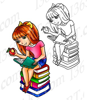 Girl Reading Books Clipart, Line Art, Coloring Page for kids Chibi Style 8 x 9