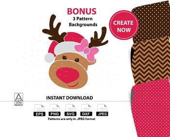 Girl Reindeer clipart,christmas deer instantdownload svg, santa hat,xmas clipart