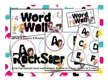 Girl Rock Star themed Word Wall headers - labels