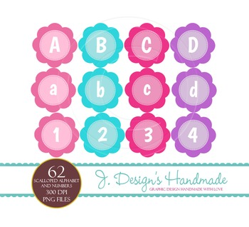 Girl Scalloped Cirlces Alphabet and Numbers Clipart Commercial Use