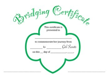 photograph relating to Girl Scout Certificates Printable Free titled Lady Scout Bridging Certification