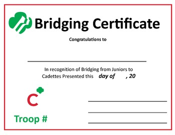 graphic regarding Girl Scout Certificates Printable Free named Female Scout Bridging Certificates Worksheets Instruction