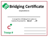 Girl Scout Bridging Certificate from Juniors to Cadettes