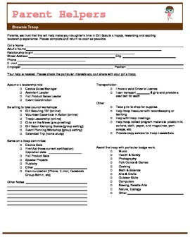 Girl Scout Brownie Parent Volunteer Form