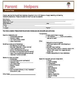 Girl Scout Brownie Parent Volunteer Form (WORD file)