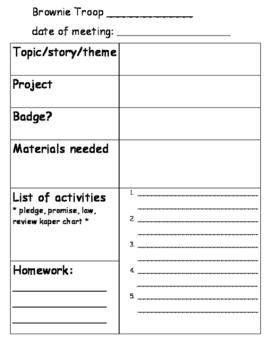 Girl Scout Brownie plan sheet