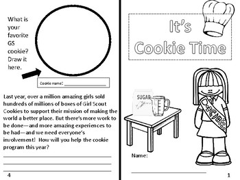 Girl Scout Brownies Cookie sale activity and coloring page
