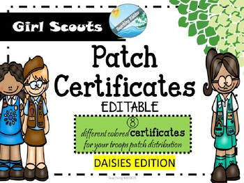 Girl Scout Certificate for DAISIES - EDITABLE