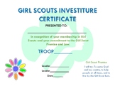 Girl Scout Daisies Investiture Certificate
