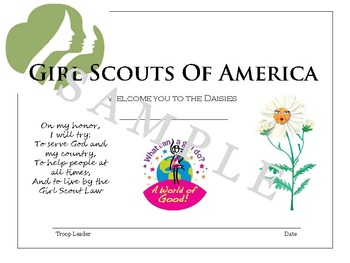 Girl Scout Daisy Investiture Certificate - Daisy Level