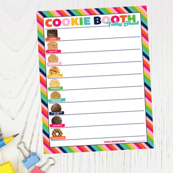 photograph about Girl Scout Cookies Order Form Printable referred to as Lady Scout Impressed Cookie Booth Tally Sheet ABC Printable Down load