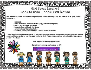 Girl Scout Inspired Cookie Sale Thank You Notes