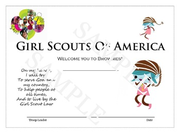 Girl Scout Investiture Certificate - Brownie Level