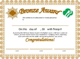 Girl Scout Junior Bronze Award Certificate